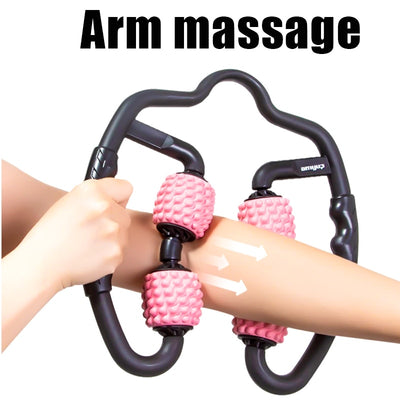 U Shape Trigger Point Massage Roller for Arm Leg Neck Muscle Tissue for Fitness Gym Yoga Pilates Sports 4 Wheel