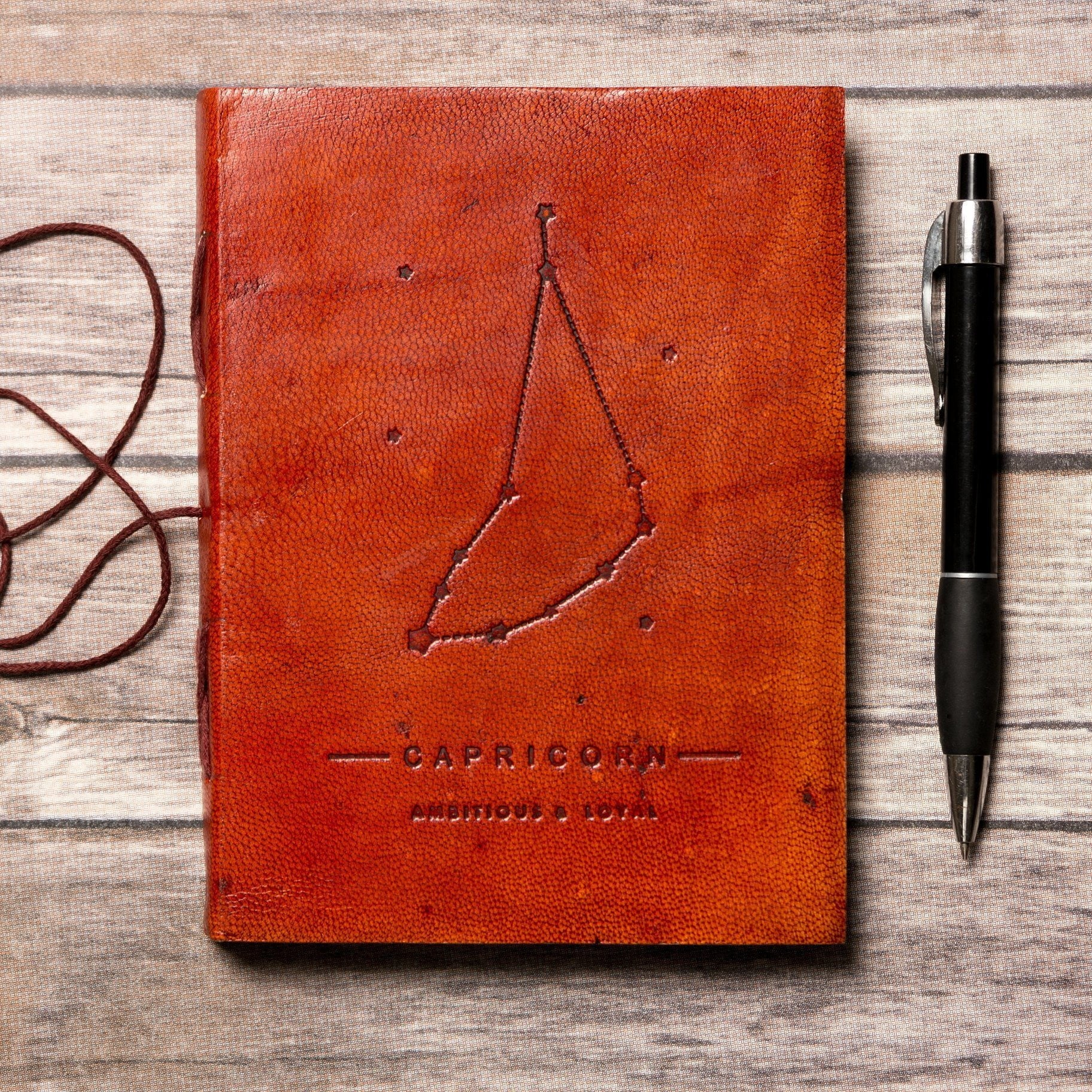 Capricorn Zodiac Handmade Leather Journal - Dimension Dream Seekers