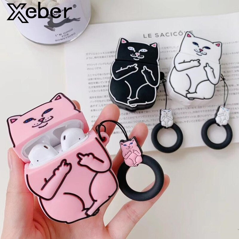 Cartoon Cat AirPods Case