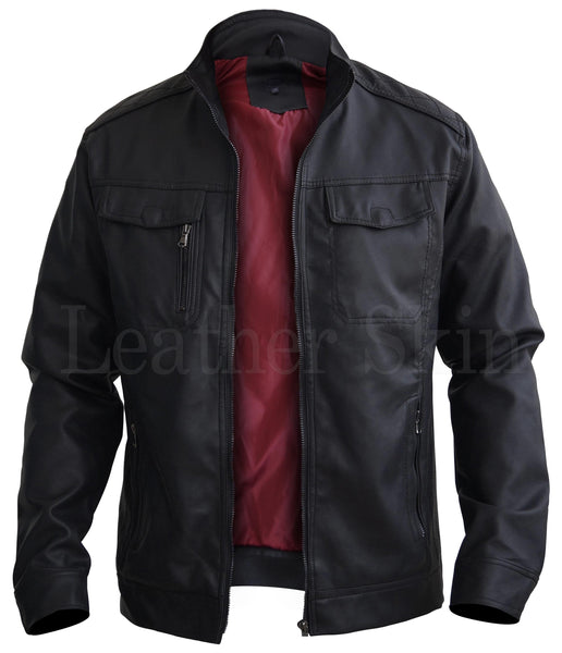 Black Crossed Shoulder Leather Jacket - Dimension Dream Seekers