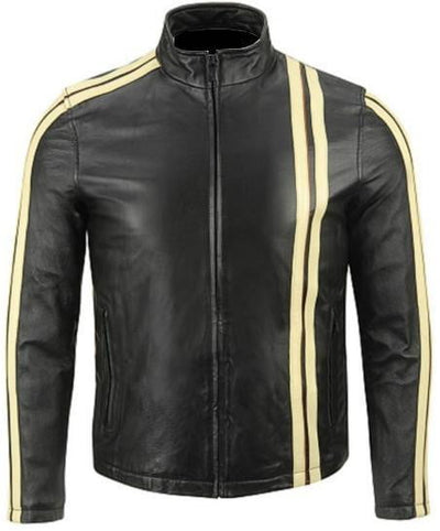 Black with Cream Stripes Leather Jacket - Dimension Dream Seekers