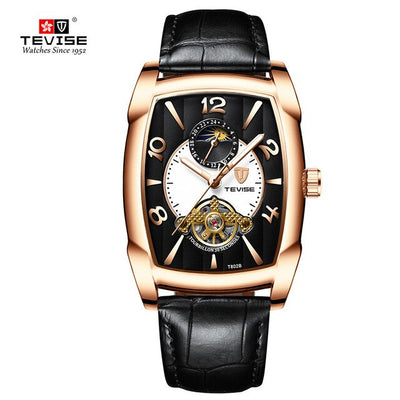 TEVISE Business Square Design Unique Mechanical Watch
