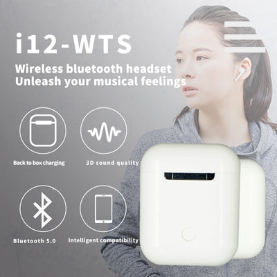 i12 tws Matte Bluetooth Earphone Wireless Earbuds