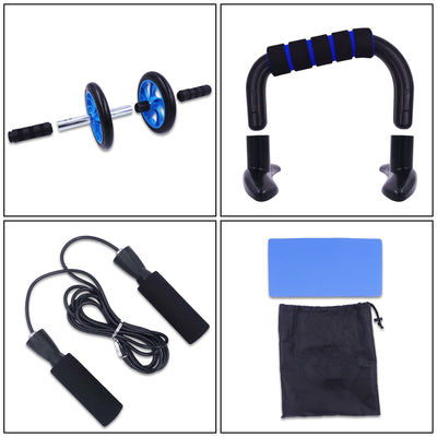 AB Roller Kit Strong Load-bearing with Push-Up Bar Jump Rope Knee Pad Home Gym Abdominal Core Muscle Exercise Fitness Equipment