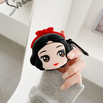 Snow White Airpods 1/2 case, cartoon soft silicone wireless headset set of applicable to Apple Airpods pro lovely case