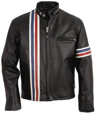Men Black Stripes Biker Leather Jacket - Dimension Dream Seekers