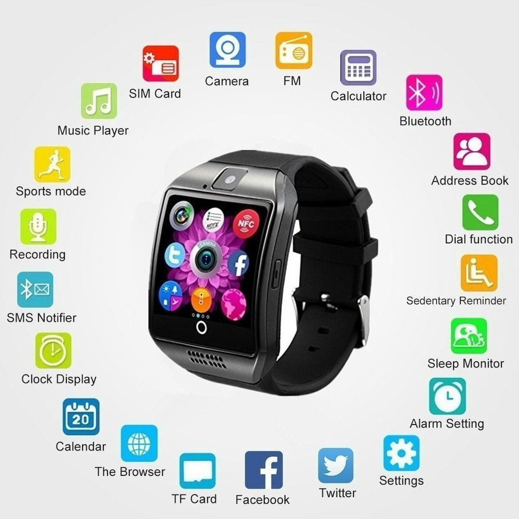 New products Q18 Touch Screen Smart Bluetooth Watch Phone with SIM Camera NFC For for iOS&Android Smartphones - Dimension Dream Seekers