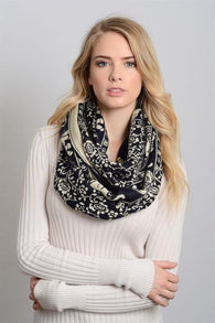 Soft Black & Ivory Elephant Print Scarf - Dimension Dream Seekers