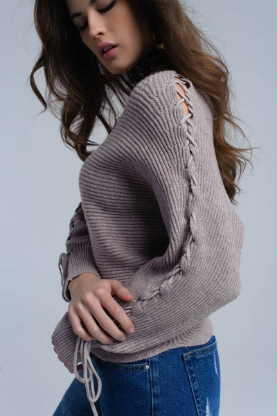 Beige crop sweater with tie ribbons - Dimension Dream Seekers
