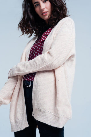 Pink angora cardigan with long sleeves - Dimension Dream Seekers