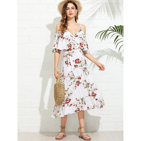 Wrap Front Cold Shoulder Floral Dress - Dimension Dream Seekers