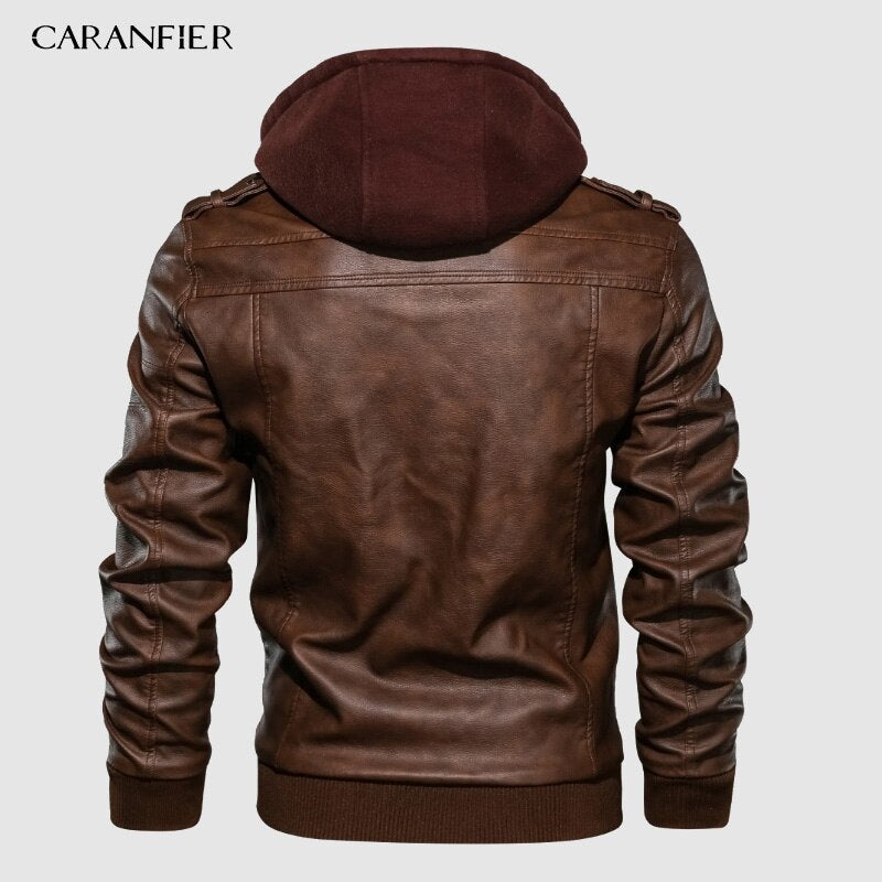 Men's PU Hooded Jackets
