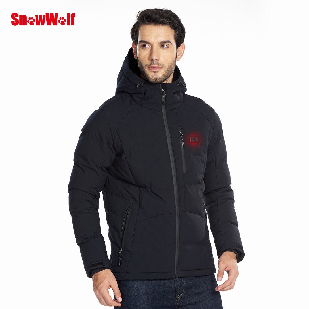 Men Winter Outdoor USB Infrared Heating Hooded Jacket
