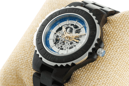 Men's Genuine Automatic Ebony Wooden Watches