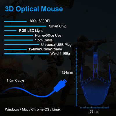 LED Mouses Ergonomic Mouse for Windows Xiaomi Huawei PC Laptop