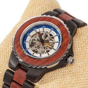 Men's Genuine Automatic Rose Ebony Wooden Watches - Dimension Dream Seekers