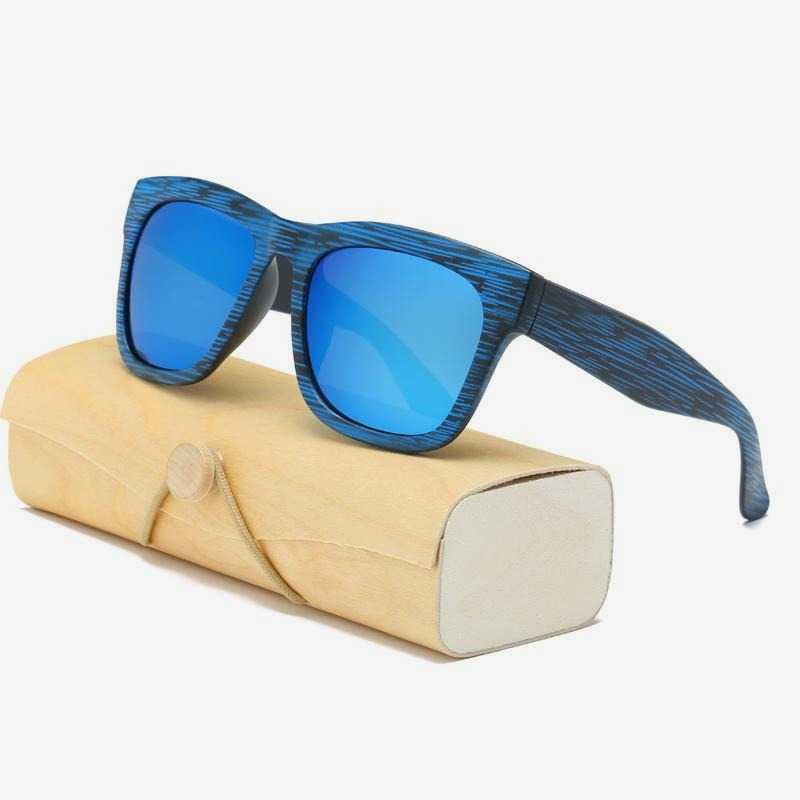 Square Bamboo  Retro Sunglasses