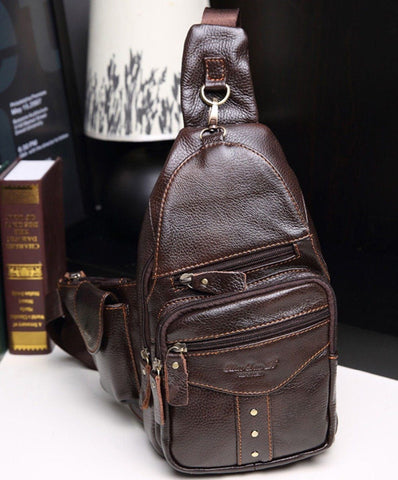 Genuine Leather Chest Sling Back Pack with Rivets - Dimension Dream Seekers