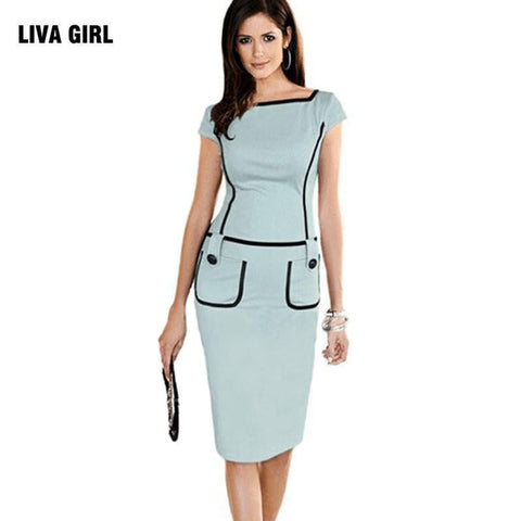 Elegant Women Tunic Sleeve Knee Length Bodycon Business Pencil Midi Dress - Dimension Dream Seekers