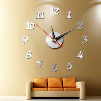 Modern Large Wall Clock 3d Mirror Sticker Unique Big Number Watch Diy Decor Wall Clock Art Sticker Decal Home Modern Decoration - Dimension Dream Seekers