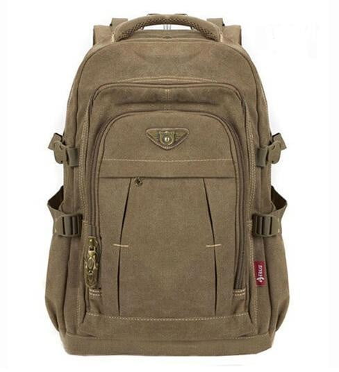 Man's Canvas Backpack Large Capacity Rucksack Shoulder Bag - Dimension Dream Seekers