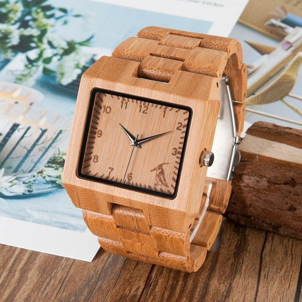 BOBO BIRD Fashion Men Square Bamboo Wooden Watches