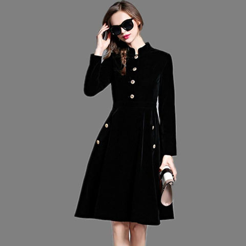 Splendid Autumn and winter Runway Velvet Retro fashion elegant self-cultivation dress - Dimension Dream Seekers