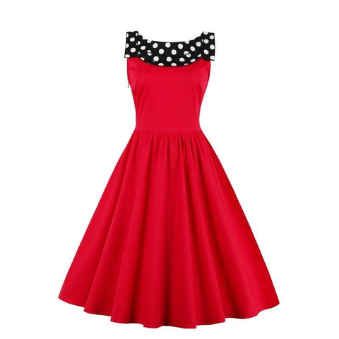 Classic women vintage dress 1950s style polka dots party dress Behind slits bow sleeveless elegant summer female vintage dresses - Dimension Dream Seekers