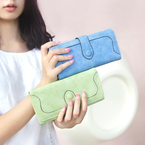 Exclusive Women Wallets New Winter Fashion Trends Pumping Frosted Multi-card Position Two Fold Wallet Lady Ms. Long Purse Card - Dimension Dream Seekers