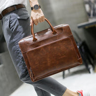 Men's Brand Crazy Horse Pu Leather Messenger Briefcase - Dimension Dream Seekers