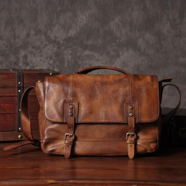 Vintage Genuine Leather Messenger Bag - Dimension Dream Seekers