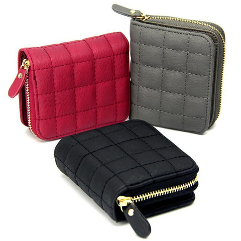 Women Short PU Leather Plaid Purses Nubuck Card Holder - Dimension Dream Seekers