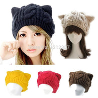 Fashion Lady Girls Winter Warm Knitting Wool Cat Ear Beanie - Dimension Dream Seekers