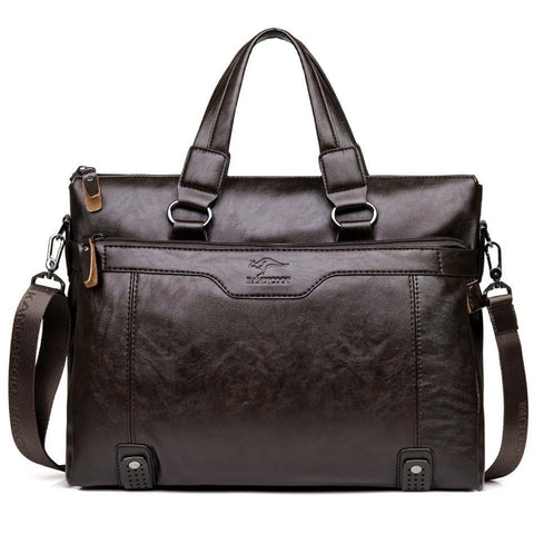 Men Business Shoulder Leather Messenger Briefcase - Dimension Dream Seekers