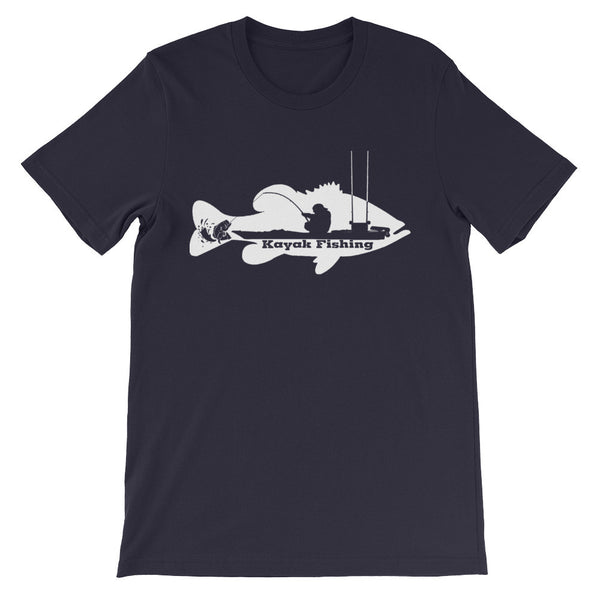 Kayak Bass Fishing T-Shirt (white print)