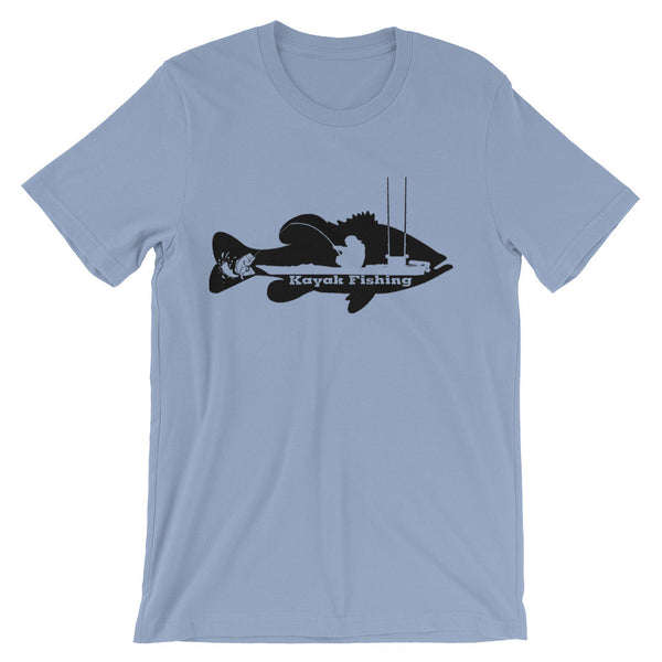 Kayak Bass Fishing T-Shirt (Black Print)