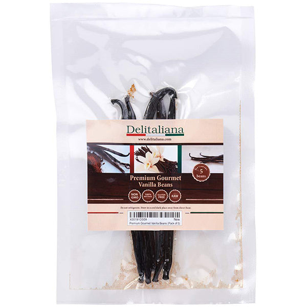 Delitaliana Gourmet Vanilla Beans, Approximately 5~6 Inches