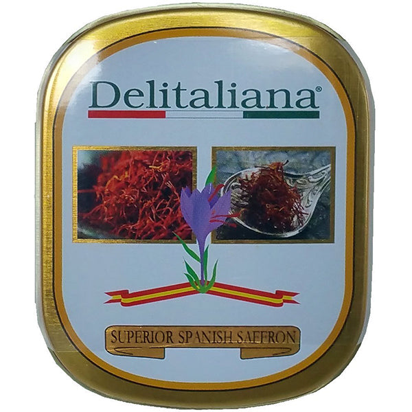 Delitaliana Spanish Saffron Tin, All Red Coupe Quality Threads Category I, Pure Saffron Filaments