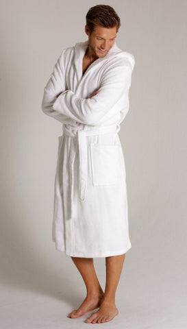 man wearing white bathrobe