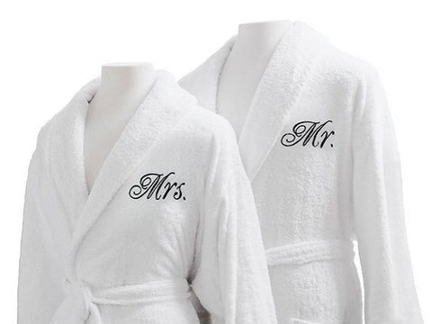 set of personalized bathrobes