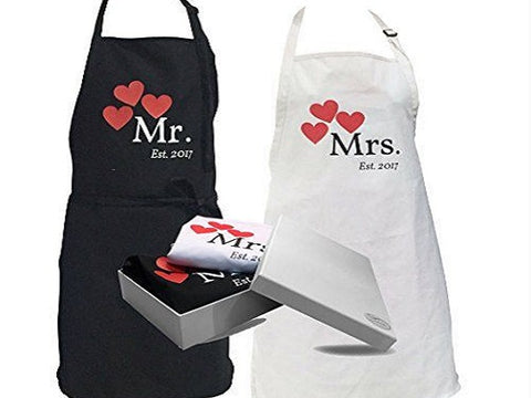 personalized kitchen aprons for him and her