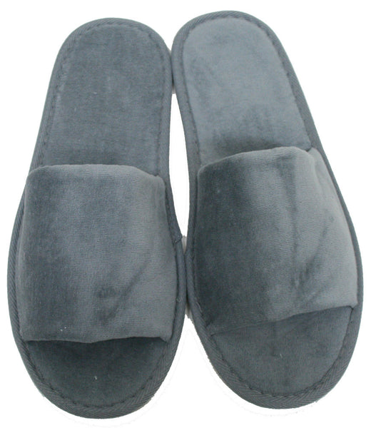 100% Absorbent Terry Velour Sole Padded Indoor Hotel Open Toe Spa Slippers - Gray