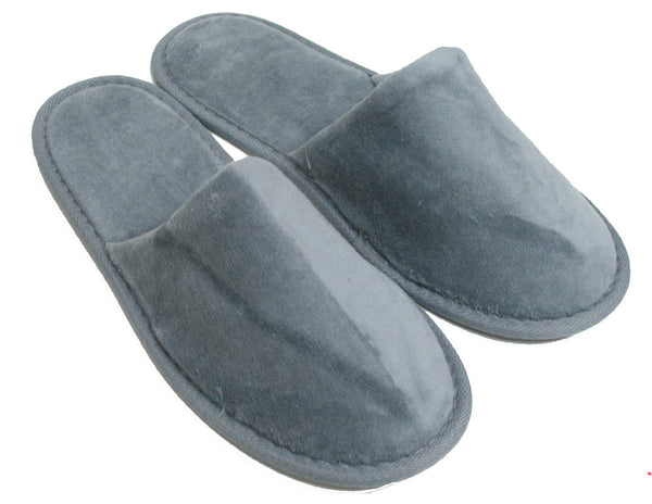 100% Absorbent Terry Velour Sole Padded Indoor Hotel Spa Slippers - Gray, Slippers