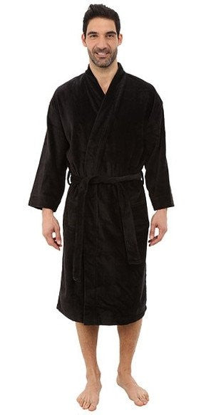 Wholesale Luxurious Terry Shawl Collar Robe - Black, Terry Cloth Robes