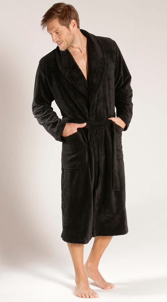 %100 Cotton Luxury Velour Shawl Collar Bath Robe - Black, Terry Cloth Robes