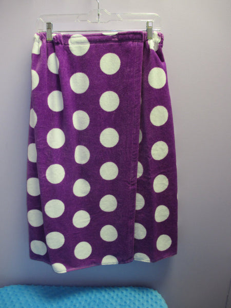 100% Cotton Polka Dot Purple Terry Velour Cloth Bath Wrap, Bath Wraps