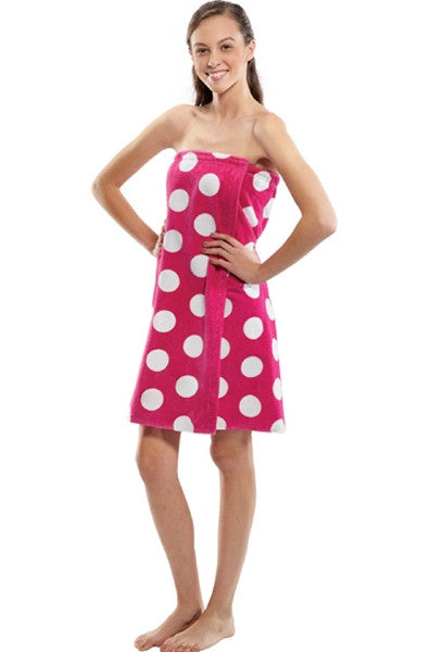 Wholesale Monogrammed Polka Dot Print Bath Wrap - Fuchsia, Bath Wraps