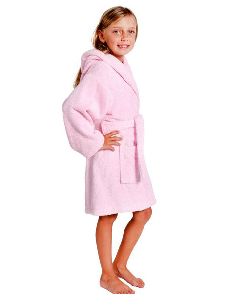 %100 Cotton Super Absorbent Girls Terry Bathrobe - Pink, Kid's Robe