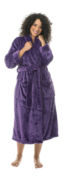 100% Microfiber Polyester Fleece Shawl Collar Bathrobe - Purple, Fleece Robes