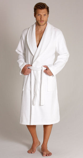 100% Premium Cotton Men's Terry Cloth Shawl Collar Robe - White,